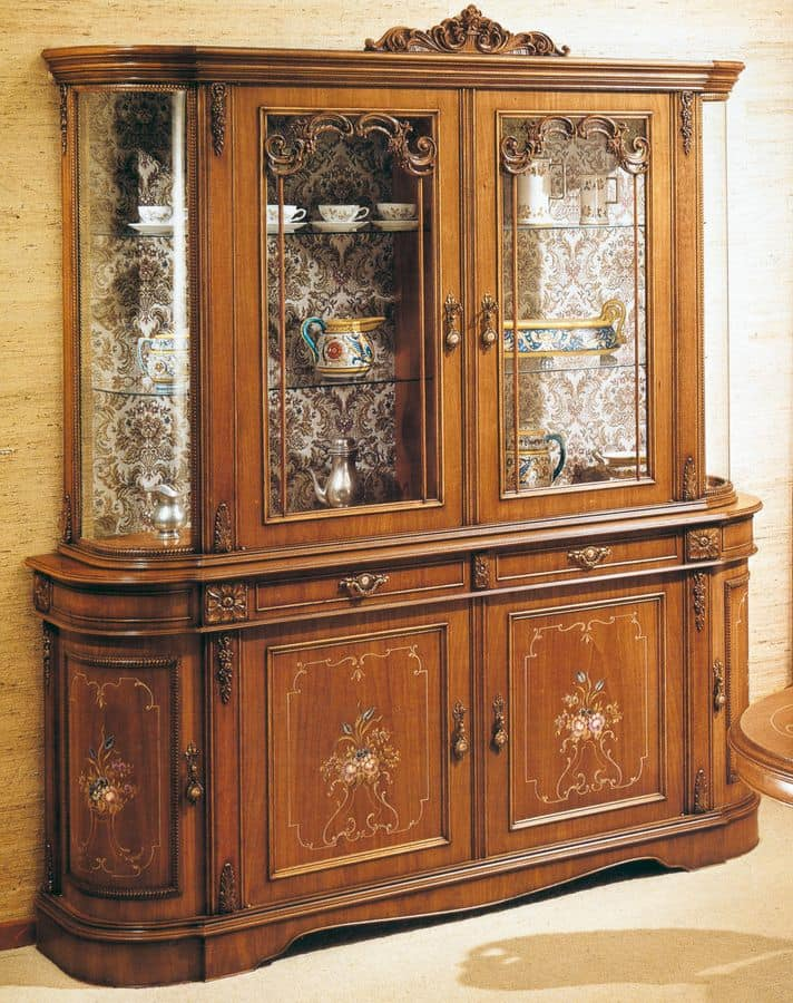 Wooden Display Cabinet With 6 Doors And 2 Drawers, Flower