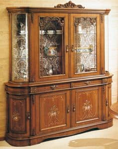 Art. S-809 bis, Wooden display cabinet with 6 doors and 2 drawers, flower decorations, classic style