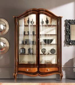 Bourbon Art. 25.102, Display cabinet with 2 doors and 2 drawers, with backrest in fabric