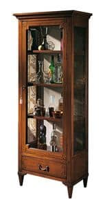 Bourges VS.6528, Walnut crystal display cabinet, with 1 door and 1 drawer, geometric inlays, back in fabric, wooden shelves, for environments in classic luxury style
