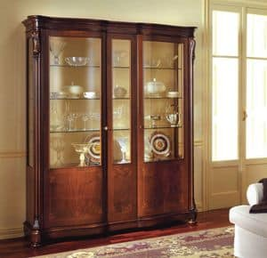 Canova glass unit, Classic display cabinet with side doors with curved glass