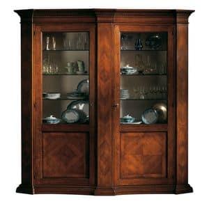 Collesalvetti ME.0123, Display cabinet in walnut, herringbone decorations