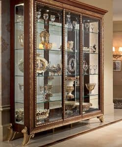 Giotto display cabinet, Solid wood display cabinet, with gold frame and finish