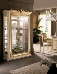 Leonardo display cabinet, Display cabinets with gold leaf finial, glass doors