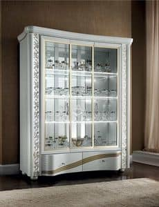 Mir� display cabinet, Display cabinet with internal LED lights customizable in the colors