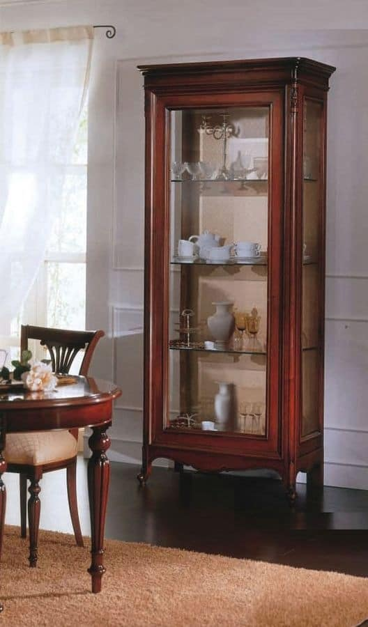2 Doors Display Cabinet With Solid Wood, Glass Shelves