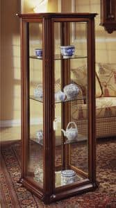 Oxford Art.536 Glass-case, Classic display cabinet with bevelled glass and wheels, in walnut