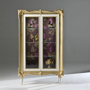 Palazzo PL217, Carved showcase, with gold finish, with spotlights