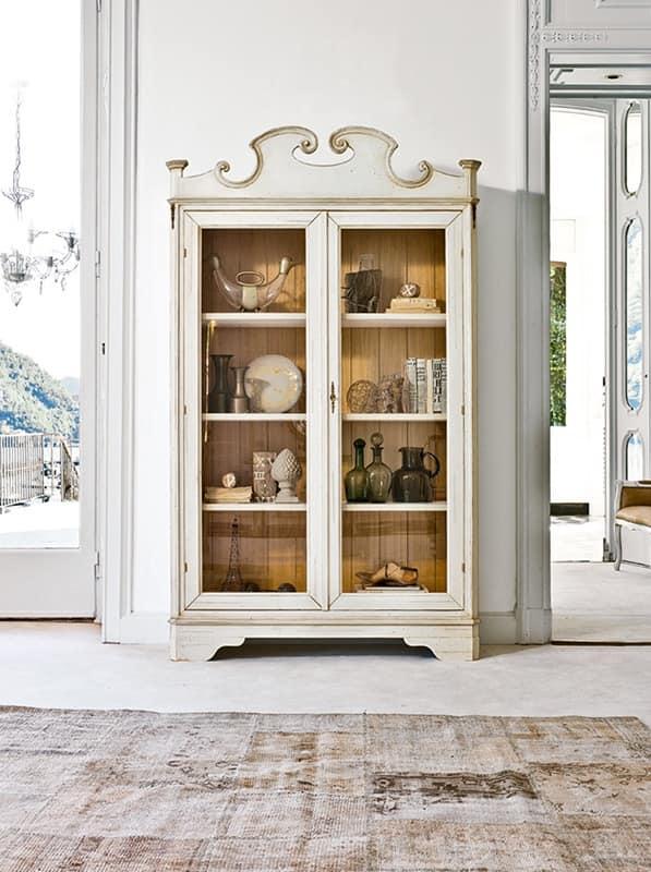SESTANTE Art. 1482, Luxury Display Cabinet, With 2 Doors, Walnut Back,