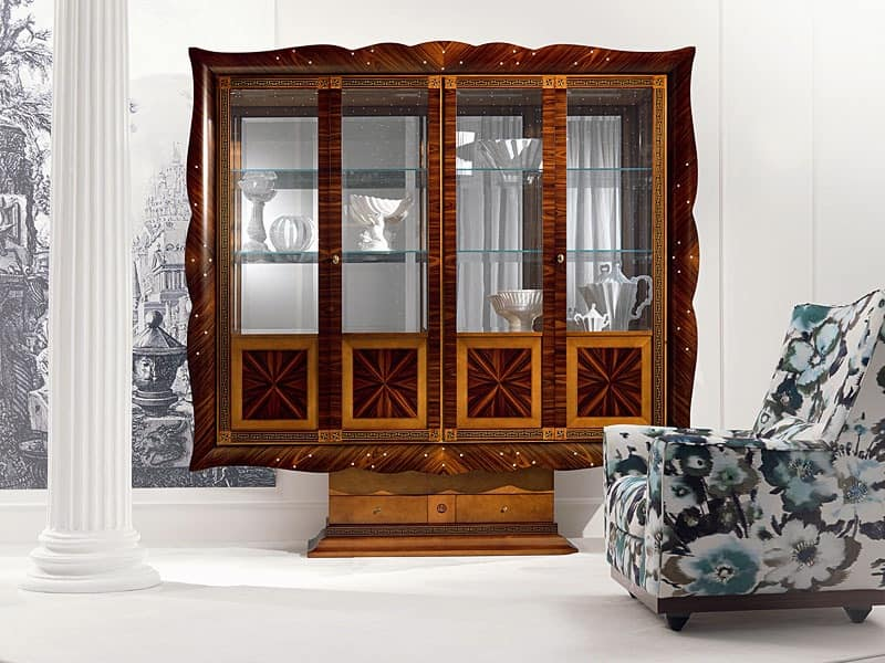 4 Doors Display Cabinet Curved With Glass Doors Idfdesign