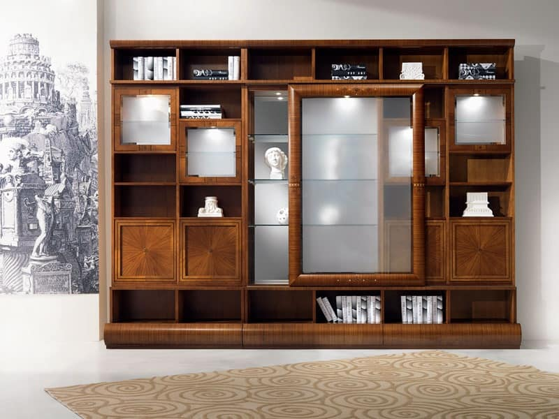 Modular library display cabinet, in walnut, sliding doors ...