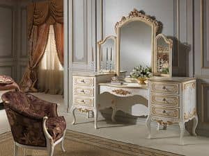 Art. 941 dressing table, Toilets with mirror, classic style, wood ivory finish