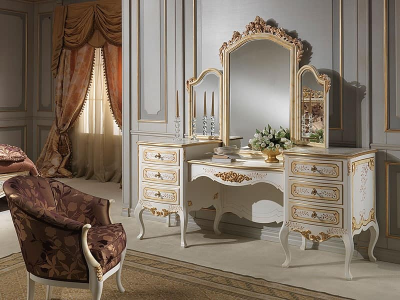 Toilets with mirror, classic style, wood ivory finish : IDFdesign
