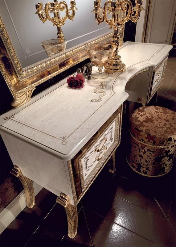 Classic Luxury Dressing Table White Lacquered Gilded Frame Idfdesign
