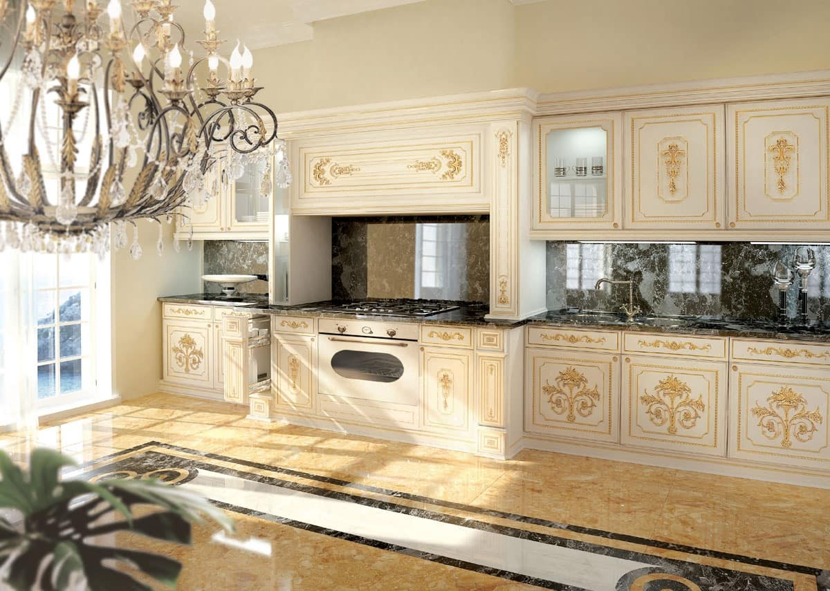 classic luxury white lacquered kitchen with gold decorations idfdesign. Black Bedroom Furniture Sets. Home Design Ideas