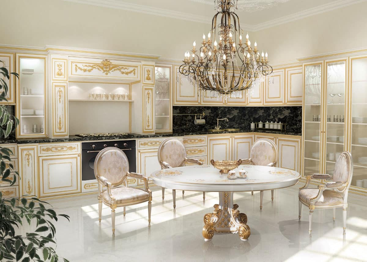 White and gold white and gold kitchen - Mobili luxury design ...