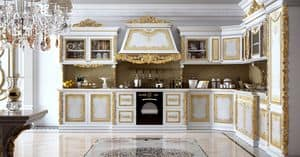 Royal Kitchen, Modular kitchenin  carved wood, for villas