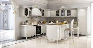 Vittoria Kitchen, Classic kitchen in carved wood, with marble top