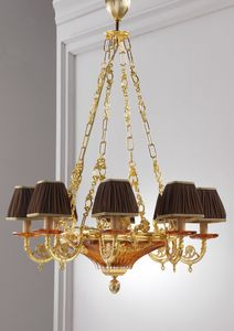 Art. MER 835, Classic chandelier, in brass and crystal, handmade