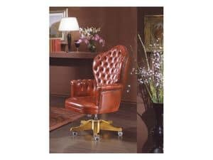 Giusy, Swivel Presidential chair with solid poplar structure