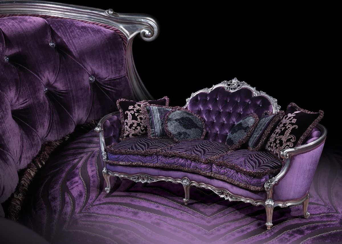 Sofa with silver finishings louis xv style idfdesign for Purple sofa