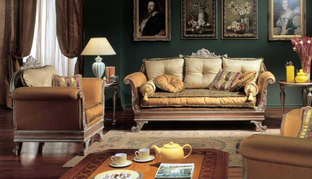 3225 SOFA' 3 SEATER IMPERO, 3 seater sofa with pickled finish, in carved wood