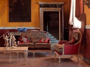 Ambra sofa, Classic tufted sofa, with carvings, lacquer finish