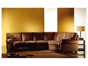 Angular Oregon, Corner sofa covered in fabric, classic style