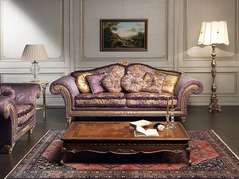 Art. IM 23 Imperial, Luxury Sofa, Characterized By Handicraft Carved  Mouldings With Baroqe