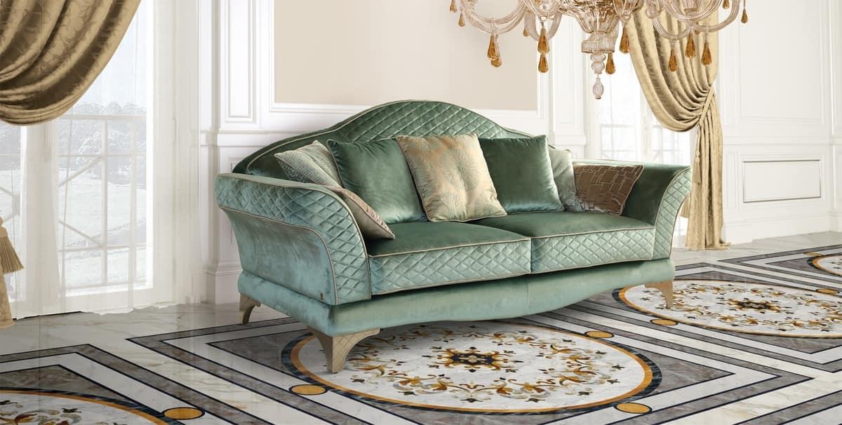 Audrey Sofa, Luxury Sofa, Classic Style, Fine Green Fabric