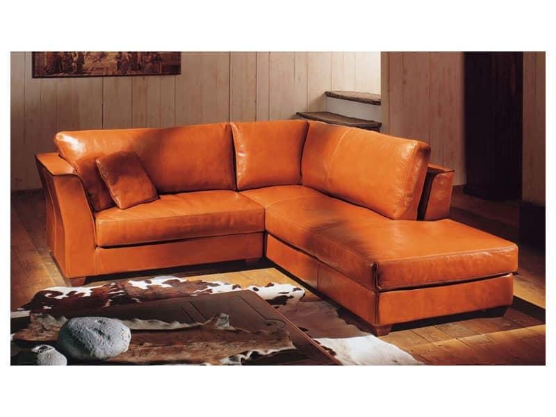 Corner Sofa Covered In Leather Honey Colored Idfdesign