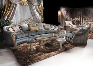 Bijoux Sittingroom, Hand-decorated sofa for classic luxury living room