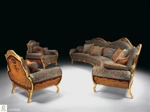 Caprice, Luxury classic living room furniture, inlaid sofa