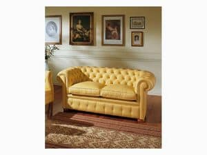 Chester, Buttoned sofa, for luxury classic sitting room, in leather