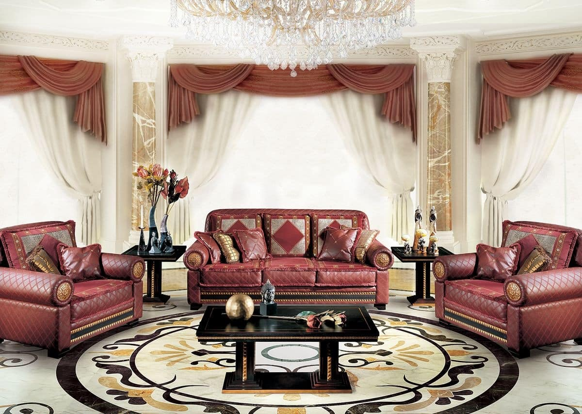 classic luxury sofa for living room with 3 seats idfdesign. Black Bedroom Furniture Sets. Home Design Ideas