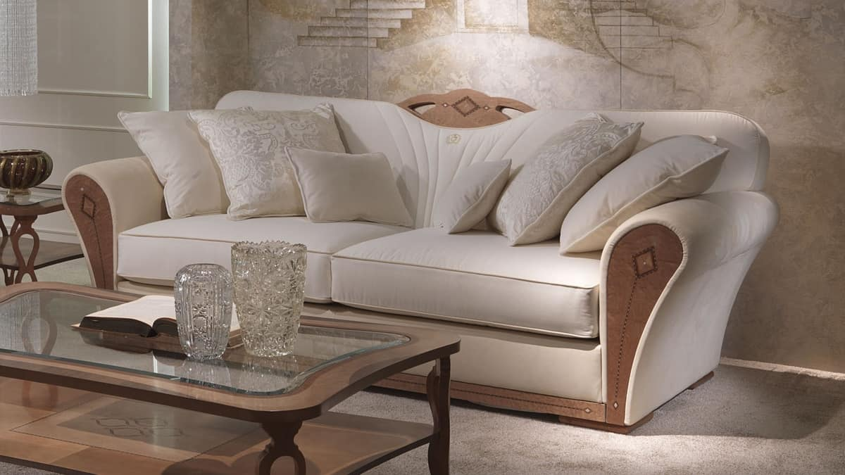 Overstuffed sofa in wood for luxury living rooms idfdesign for Salotti di lusso