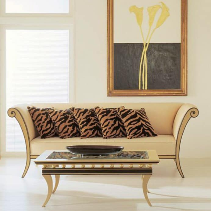 upholstered wooden sofa classic contemporary style