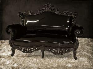 Finlandia eco-leather, Black lacquered sofa, new Baroque style