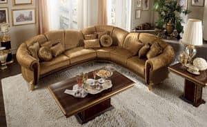 Giotto corner sofa, Corner modular sofa, with gilded feet, luxury