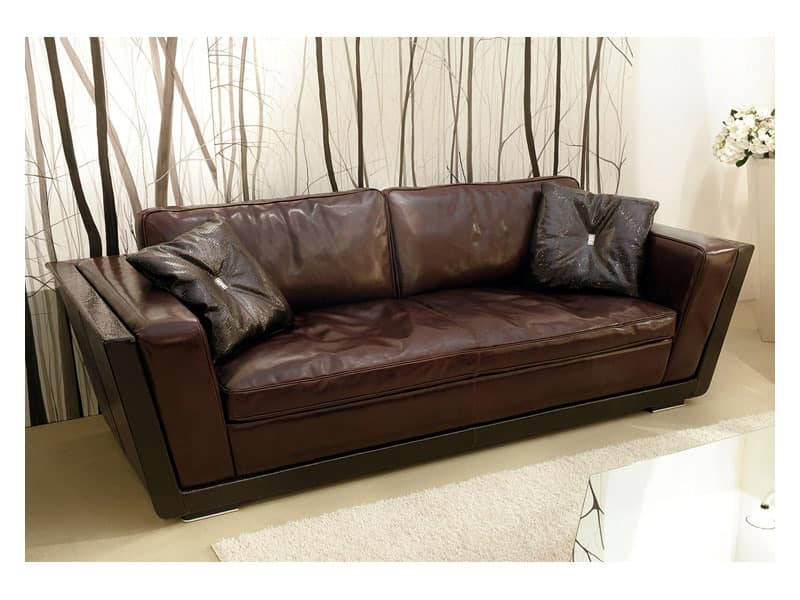Sofa Covered In Leather Feather Filling Idfdesign