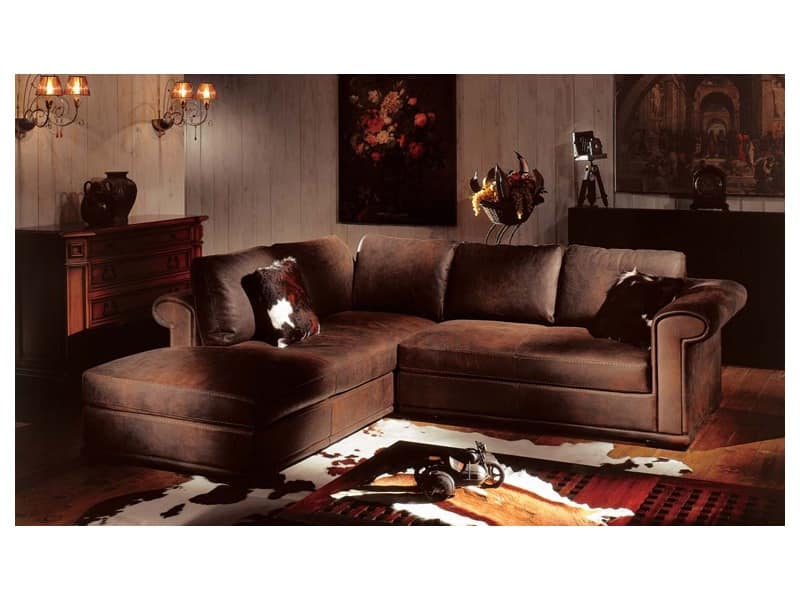 Corner Sofa Covered In Leather Feather Filling Idfdesign
