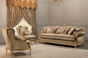 Luxury, 2 seats classic sofa, gold leaf finish, for living room