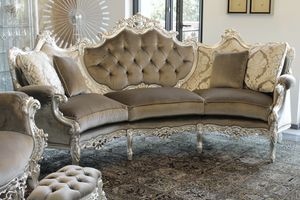 Marsiglia velvet, Curved sofa in Baroque-style, in carved beech