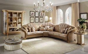 Melodia corner sofa, Corner sofa, classic style, texture of fine wood, fabric covering