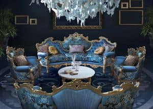 Millionaire New B/2203, Comfortable sofa, with round shape, rich hand carvings, precious fabrics