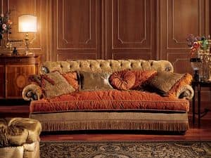 Nathalia sofa, Sofa with quilted backrest, classic style