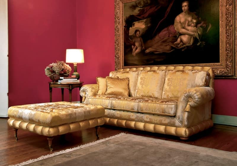 Luxury classic sofa with pouf for elegant lounges idfdesign for Classic style sofa