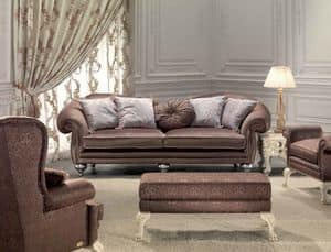 Protagonista, 3 seater sofa for the living room, classic, elegant details