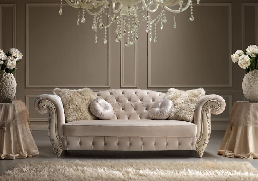 Elegant Sofa In Hand Carved Wood Idfdesign