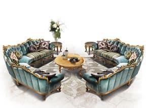 Saint Germain, Upholstered modular sofa, hand carved